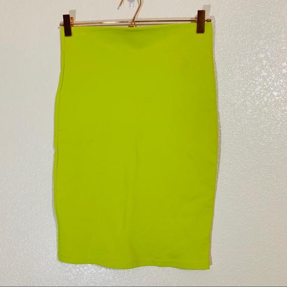 Shinestar Dresses & Skirts - Shinestar   Lime Green Midi Bodycon Skirt - Medium